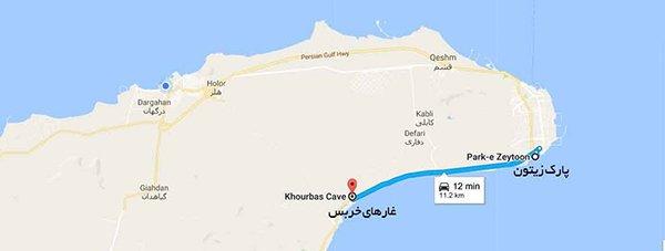 غار خربس در نقشه